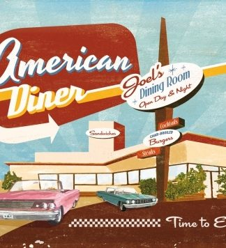 AMERICAN DINER TIME TO EAT! METAL SIGN