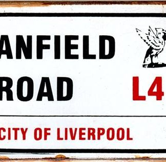 ANFIELD ROAD CITY OF LIVERPOOL RUSTY TIN SIGN