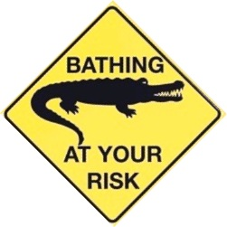 BATHING AT YOUR RISK CROC LARGE METAL SIGNS