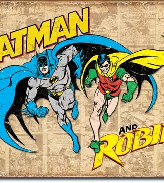 BATMAN AND ROBIN WEATHERED LARGE METAL SIGNS