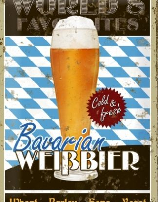 BAVERIAN BEER WORLD'S FAVORITES MEDIUM SIZE METAL SIGNS