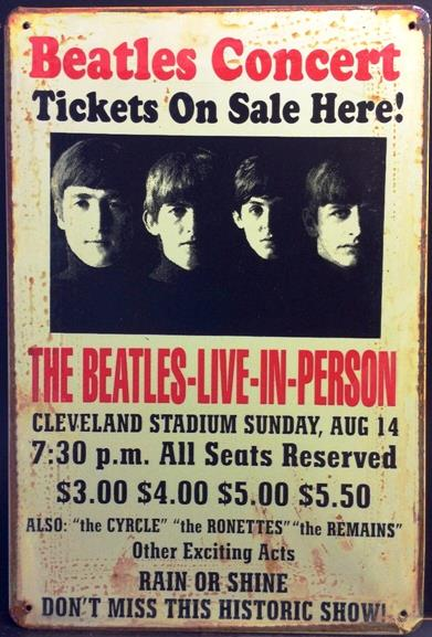 BEATLES CONCERT LIVE-IN-PERSON RUSTY TIN SIGN