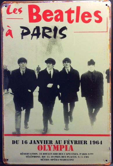 BEATLES IN PARIS RUSTY TIN SIGN
