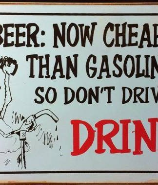 BEER NOW CHEAPER THAN GASOLINE RUSTY TIN SIGN