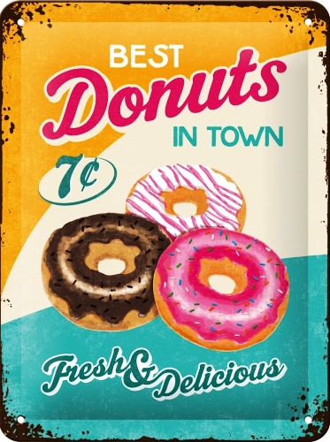 BEST DONUTS IN TOWN SMALL EMBOSSED METAL SIGNS