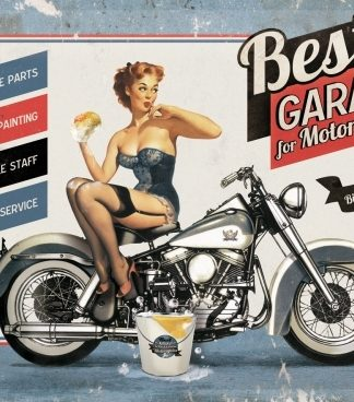 BEST GARAGE FOR MOTORCYCLES HORIZANTAL METAL SIGN