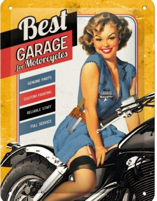 BEST GARAGE FOR MOTORCYCLES SMALL EMBOSSED METAL SIGNS