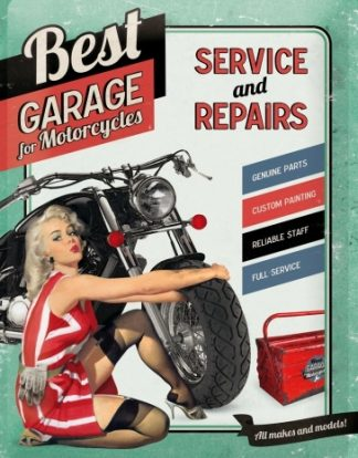 BEST GARAGE FOR MOTORCYCLES VERTICAL METAL SIGN