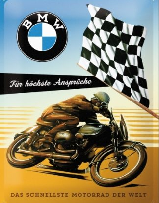 BMW MOTORCYCLES CHECKER FLAG LARGE METAL SIGNS