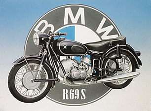 BMW MOTORCYCLES R 69 S LARGE METAL SIGNS