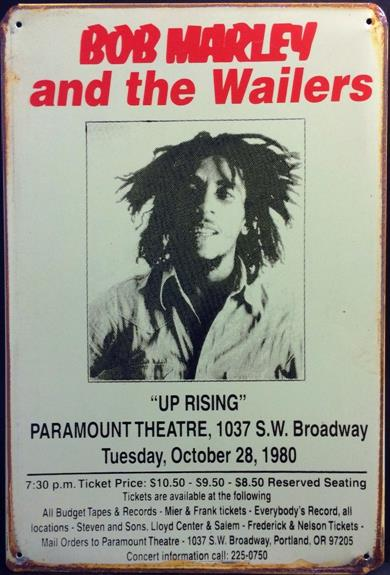 BOB MARLEY AND THE WAILERS 1980 RUSTY TIN SIGN