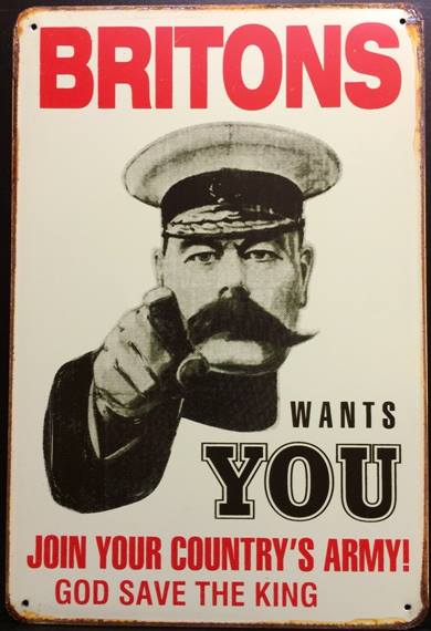 BRITONS WANTS YOU RUSTY TIN SIGN