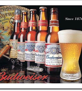 BUDWEISER BEER HISTORY LARGE METAL SIGNS