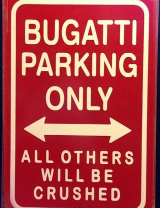 BUGATTI PARKING RUSTY TIN SIGN