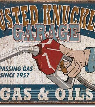 BUSTED KNUCKLE GARAGE GAS AND OILS LARGE METAL SIGNS