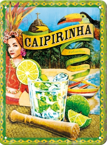 CAIPIRINHA SMALL EMBOSSED METAL SIGNS