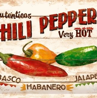 CHILI PEPPERS VERY HOT MEDIUM SIZE METAL SIGNS
