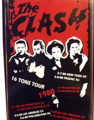 CLASH 16 TONS TOUR 1980 RUSTY TIN SIGN