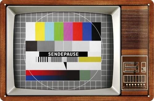 CLASSIC TV SEND PAUSE  MEDIUM SIZE METAL SIGNS