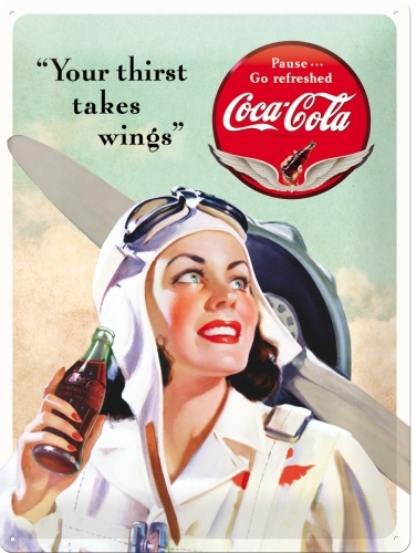 "COCA COLA ""YOUR THIRST TAKES WINGS"" LARGE METAL SIGNS"