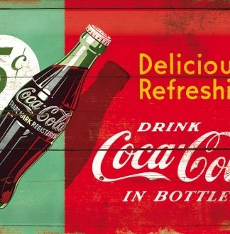 COCA COLA DELICIOUS AND REFRESHING 5 CENT MEDIUM SIZE METAL SIGNS