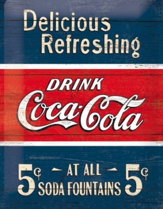 COCA COLA DELICIOUS REFRESHING LARGE METAL SIGNS