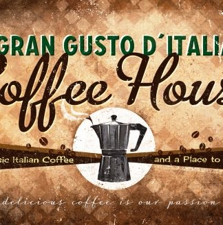 COFFEE HOUSE GRAND GUSTO D' MEDIUM SIZE METAL SIGNS