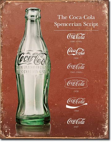 COKE SCRIPT HERITAGE LARGE METAL SIGNS