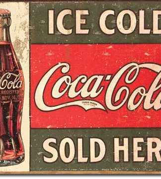 COKE SOLD HERE (LEFT) LARGE METAL SIGNS