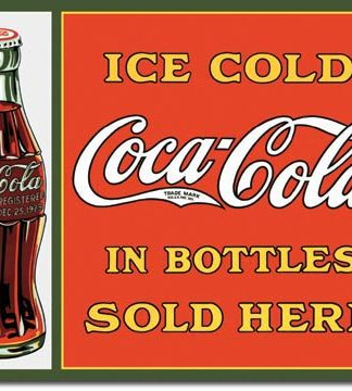 COKE SOLD HERE IN BOTTLES LARGE METAL SIGNS