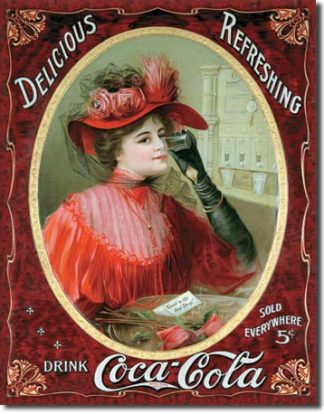 COKE VICTORIAN LADY LARGE METAL SIGNS