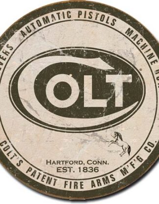 COLT REVOLVERS AUTOMATIC PISTOLS AND MACHINE GUNS ROUND LARGE METAL SIGNS
