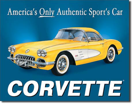 Corvette America S Only Authentic Sports Car Large Metal Signs