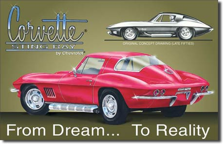 CORVETTTE STINGREY FROM DREAM... TO REALITY LARGE METAL SIGNS