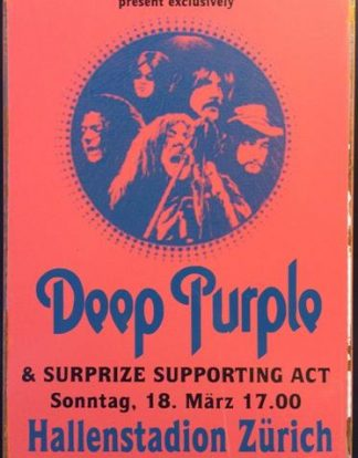 DEEP PURPLE HALLEN STADION ZURICH RUSTY TIN SIGN