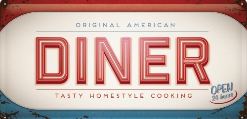 DINER ORIGINAL AMERICAN LONG 3 D METAL SIGNS