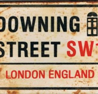 DOWNING STREET RUSTY TIN SIGN