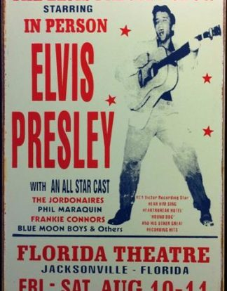 ELVIS IN PERSON FLORIDA THEATER RUSTY TIN SIGN