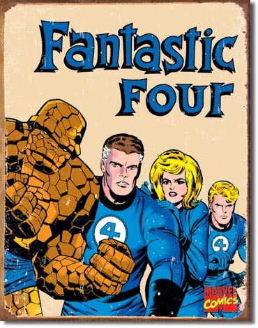 FANTASTIC FOUR SUPER HEROES LARGE METAL SIGNS