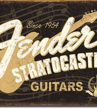 FENDER STRATOCASTER 60th LARGE METAL SIGNS