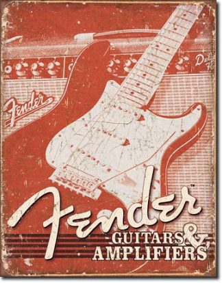 FENDER WEATHERED LARGE METAL SIGNS