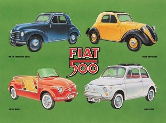 FIAT 500 COLLAGE LARGE METAL SIGNS
