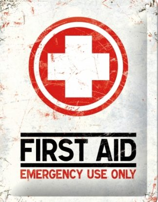 FIRST AID EMEGENCY USE ONLY SMALL EMBOSSED METAL SIGNS