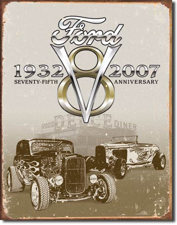 FORD V8 SEVENTY-FIFTH ANNIVERSARY LARGE METAL SIGNS