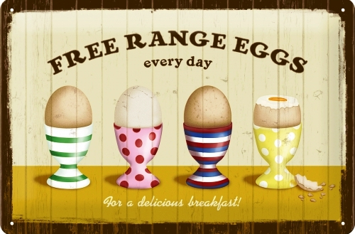 FREE RANGE EGGS MEDIUM SIZE METAL SIGNS