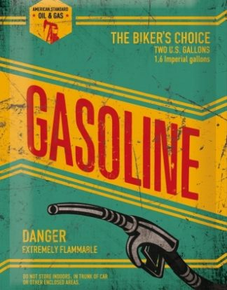 GASOLINE THE BIKER'S CHOICE MEDIUM SIZE METAL SIGNS