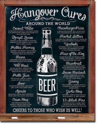 HANGOVER CURES ROUND THE WORLD LARGE METAL SIGNS