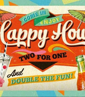 HAPPY HOUR SMALL EMBOSSED METAL SIGNS