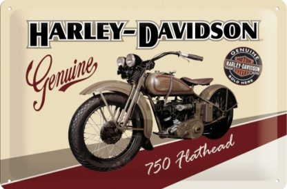 HARLEY DAVIDSON GENIUNE 750 FLATHEAD MEDIUM 3D TIN SIGN