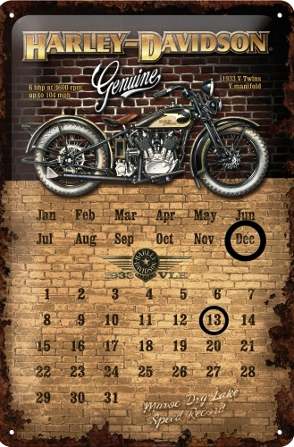 HARLEY DAVIDSON GENIUNE CALENDAR MEDIUM 3D TIN SIGN